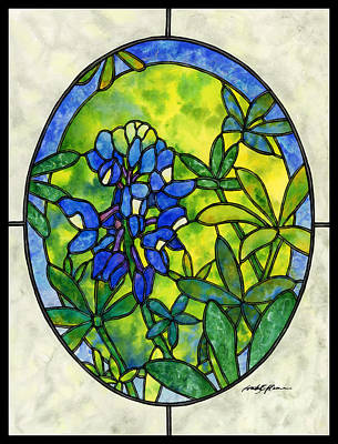 Design Turnpike Vintage Farmouse - Stained Glass Bluebonnet by Hailey E Herrera