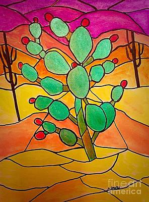 Painting - Stained Glass Cactus by Anne Sands