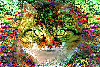 Digital Art - Stained Glass Cat by Peggy Collins