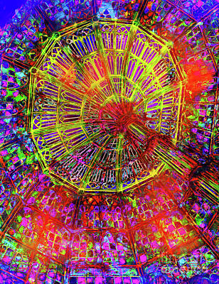 Photograph - Stained Glass Ceiling In Neon by Judi Bagwell
