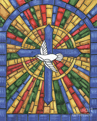 Doves Painting - Stained Glass Cross by Debbie DeWitt