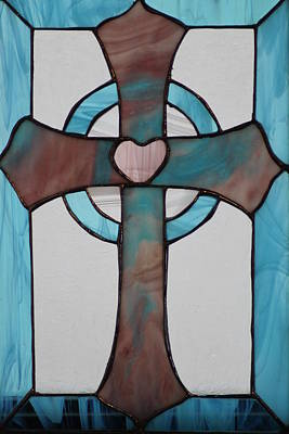 Stained Glass Cross Art Print by Ralph Hecht
