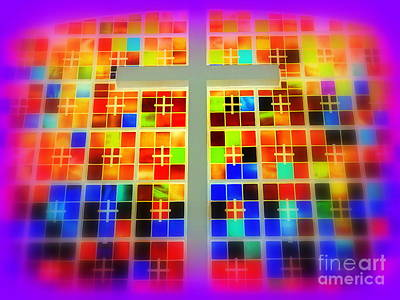 Digital Art - Stained Glass Crosses #2 by Ed Weidman