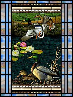 Mixed Media - Stained Glass Ducks by Anthony Seeker