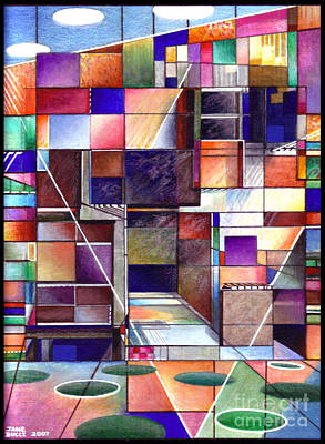 Bucci Drawing - Stained Glass Factory by Jane Bucci