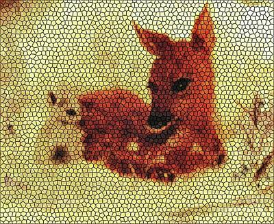 Painting - Stained Glass Fawn And Bunny by Hazel Holland
