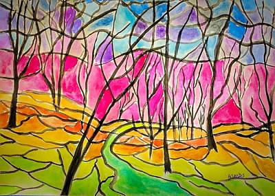 Painting - Stained Glass Forest by Anne Sands