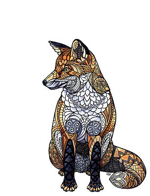 Painting - Stained Glass Fox by ZH Field