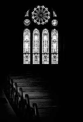 Religious Photograph - Stained Glass In Black And White by Tom Mc Nemar