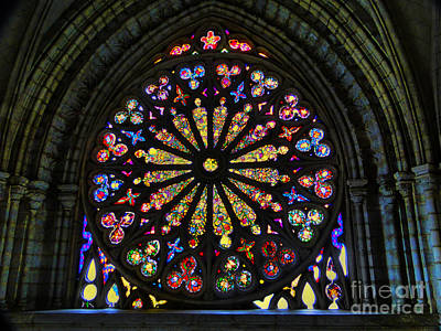 Stained Glass Panels Photograph - Stained Glass In Old Quito Ecuador Basilica by Al Bourassa