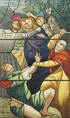 New Testament Drawing - Stained Glass In St Mark's  The Taking Of Christ  by Joseph Manning