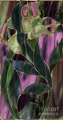 Lilies Royalty-Free and Rights-Managed Images - Stained Glass Khaki Callas by Mindy Sommers