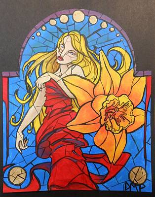 Diane Peters Painting - Stained Glass Lilly by Diane Peters