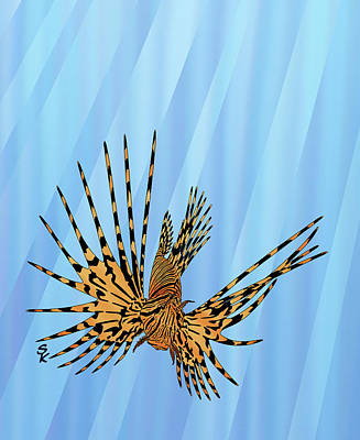 Tropical Colors Stain Glass Digital Art - Stained Glass Lionfish by Stephen Kinsey
