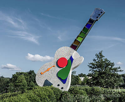 Jeffery Johnson Photograph - Stained Glass Neck Guitar Sculpture by Photo Captures by Jeffery