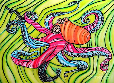 Hand Crafted Drawing - Stained Glass Octopus by Justin Moore