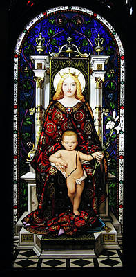 Madonnas Photograph - Stained Glass Of Virgin Mary by Adam Romanowicz