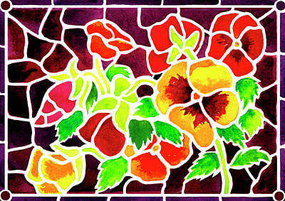 Pansy Painting - Stained Glass Pansies by Janis Grau