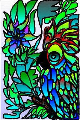 Digital Art - Stained Glass Parrot by Rae Chichilnitsky
