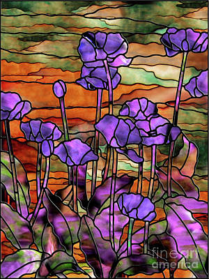 Glass Art Painting - Stained Glass Poppies by Mindy Sommers