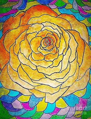 Painting - Stained Glass Rose by Anne Sands