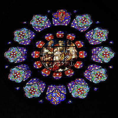 Painting - Stained Glass Rose Window Of Joinville by Vassil