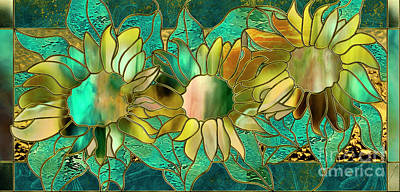 Sunflowers Royalty-Free and Rights-Managed Images - Stained Glass Sunflowers by Mindy Sommers