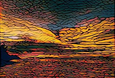 Digital Art - Stained Glass Sunset by Steven Robiner