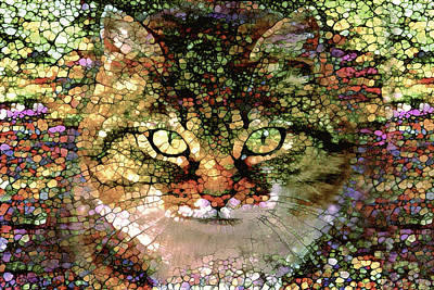 Digital Art - Stained Glass  Tabby Cat by Peggy Collins