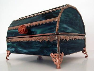 Stained Glass Treasure Chest Jewelry Box Original