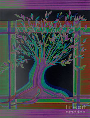 Mixed Media - Stained Glass Tree Nighttime By Jrr by First Star Art