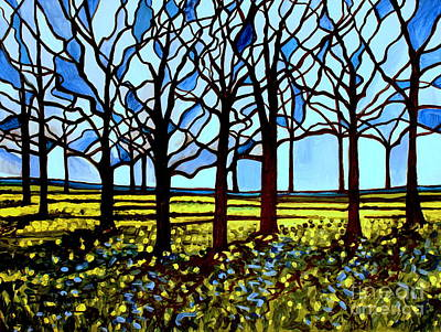 Stained Glass Trees Art Print by Elizabeth Robinette Tyndall