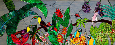 Toucan Mixed Media - Stained Glass Tropical Birds by Garland Johnson