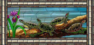 Mixed Media - Stained Glass Turtles by Anthony Seeker