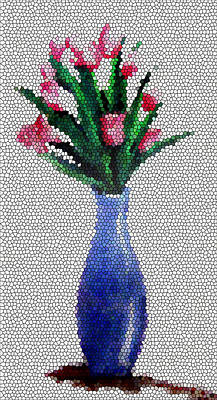 Tropical Colors Stain Glass Digital Art - Stained Glass Vase by Farah Faizal