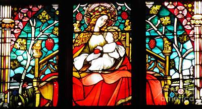 Stained Glass Virgin And Child 2 Art Print