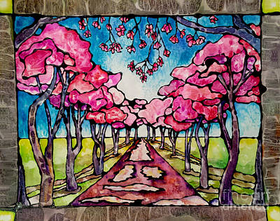 Stained Glass Watercolor Spring Cherry Trees Original