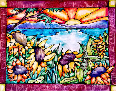 Tree Reflection At Sunset Painting - Stained Glass Watercolor Summer Sunflowers by Caitlin  Lodato