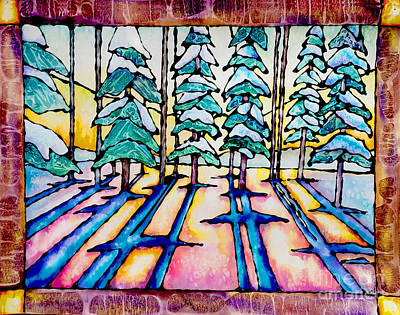 Trippy Painting - Stained Glass Watercolor Winter Pine Trees by Caitlin  Lodato
