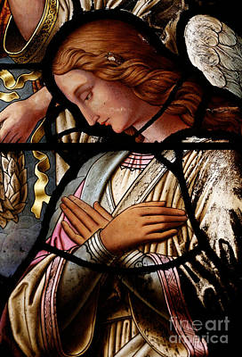 Stained Glass Windows Photograph - Stained Glass Window Angel by Unknown