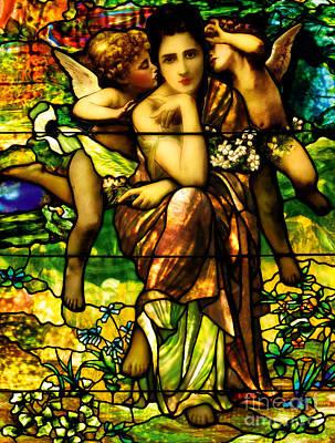 Stained-glass Window Depicting Chansons De Printemp By Bouguereau Art Print by American School