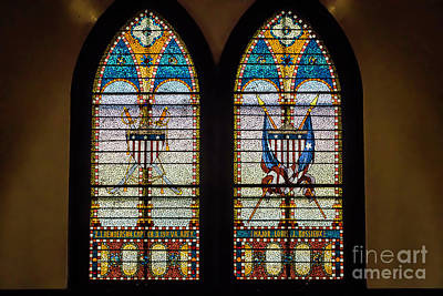 Stained Glass Windows Memorials For Capt. Z.t.henderson And Major Louise Bossieux 0339 Art Print by Doug Berry