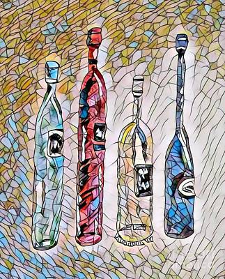 Stained Glass Wine Bottles Art Print