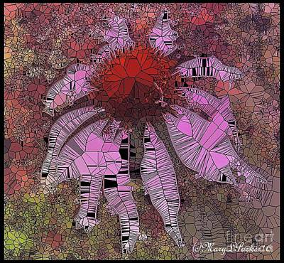 Stainglass Digital Art -  Stainglass Cone Flower by MaryLee Parker