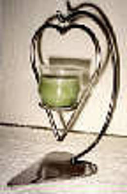 Candle Stand Mixed Media - Stainless Steel Heart Candle Holder by Michael Luddeni Metal art