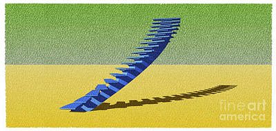 Brutalism Digital Art - Stair 10 Sketch Architecture Abstract Art by Pablo Franchi