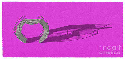 Santa Monica Drawing - Stair 23 Purple Abstract Architecture Classic Stair by Pablo Franchi