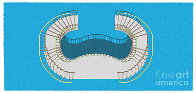 Santa Monica Drawing - Stair 24 Cyan Abstract Architecture Classic Stair4 by Pablo Franchi