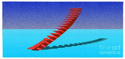 Santa Monica Mixed Media - Stair 25 Cyan And Blue Abstract Architecture Classic Stair4 by Pablo Franchi