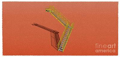 Santa Monica Mixed Media - Stair 26 Yelloy And Orange Architecture Shadow Sketch by Pablo Franchi
